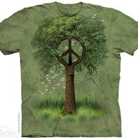 Peace Sign Tree Green Batik Short Sleeve Shirt hippie