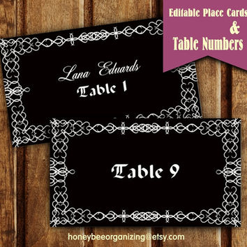 Editable Table Card Template - Editable Table Numbers Template - Printable  Place Card Wedding - Escord Cards - Black and White Table Numbers