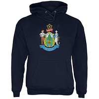 Born and Raised Maine State Flag Mens Hoodie