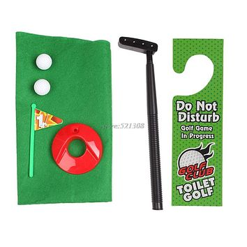 Funny Toilet Bathroom Golf Time Mini Game Play Putter Novelty Gag Gift Mat Set
