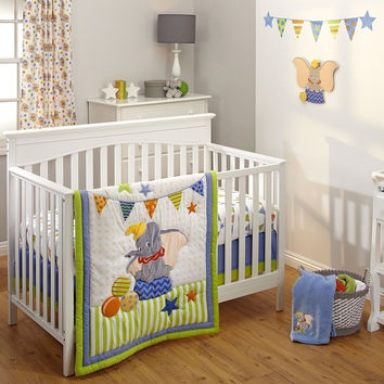 Disney Dumbo 3 Piece Crib Bedding Set Green/Blue