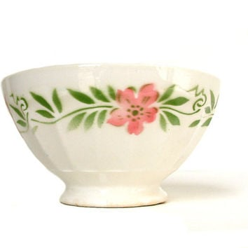 French vintage EXTRA LARGE cafe au lait bowl with pink and green flower stencil. Kitchen bowl. French country shabby chic