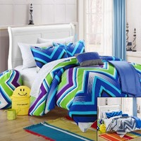 Chic Home Back to School Ziggy Zag 9-Piece Comforter Set Full Size Blue, Shams Decorative Pillows and Sheet Set Included