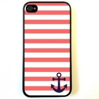 Bereadyship For iPhone 4 Case Protective for iPhone 4/4s Case Coral And White Stripes Blue Anchor Sailor Sea Life