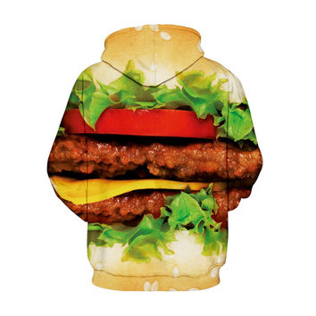 Autumn Winter Fashion Men/women Fleece Zipper Hoody Hoodies With Cap Print Hamburger Hooded 3d Sweat