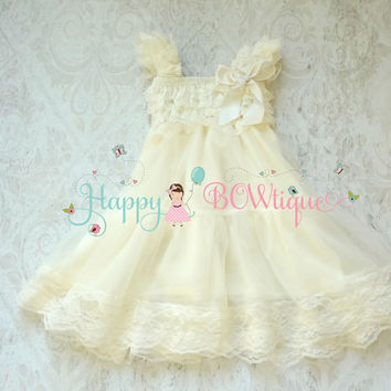 Rustic Ivory Chiffon Lace Dress Girls