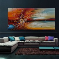 """Oil Painting, 72"""" Abstract Jackson Pollock look String Art on Canvas, Red Luxury Style Wall Art Home Decor by Nandita Albright (182.88x36cm)"""