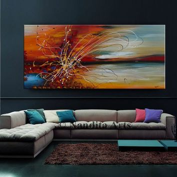 "Oil Painting, 72"" Abstract Jackson Pollock look String Art on Canvas, Red Luxury Style Wall Art Home Decor by Nandita Albright (182.88x36cm)"