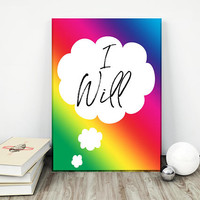 Motivational wall decor - Office wall art - Inspirational wall art - I will print - Wall art printable - Dorm wall art  - Rainbow print