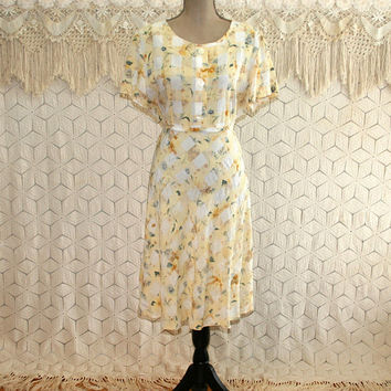 90s Yellow Floral Grunge High Waist Babydoll Dress Large Midi Short Sleeve Spring Dress Summer Dress 1990s Vintage Clothing Womens Clothing