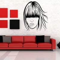 Wall Vinyl Sticker Decals Mural Design Art Woman Hair Cut Long Forelock Salon Fashion 805