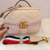 GUCCI Trending Women Metal G Double Zipper Leather Satchel Shoulder Fashion Bag Crossbody White G-MYJSY-BB