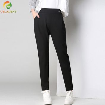 New Female Classic Elastic Waist Harem Pants Women Fashion Slim Solid Color Long Pants Suit Trousers For Female Plus Size S-6XL