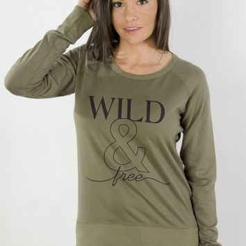 Wild And Free Eco Pima Modal Terry Long Sleeve Raglan Pullover Sweatshirt