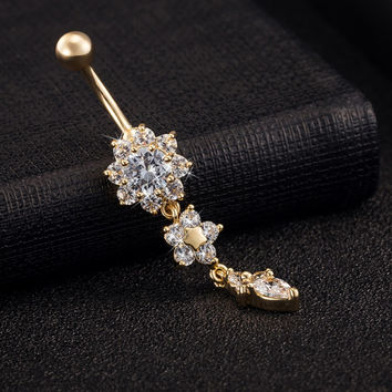 Gold Plated Dangle Flower AAA Crystal CZ Navel Bell Button Rings Sexy Body Piercing Navel Body Jewelry