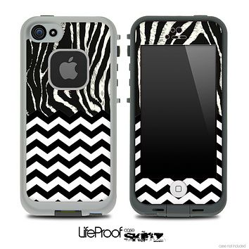 Mixed Real Zebra and Chevron Pattern Skin for the iPhone 5 or 4/4s LifeProof Case
