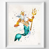 Little Mermaid Print, King Triton, Disney Poster, Watercolor Print, The Little Mermaid, Mermaid Decor, Disney Room Theme, Fathers Day Gift