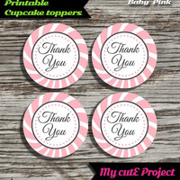 """Thank you - Cupcake toppers - Baby Pink - Instant Download - Party printable - Party favor - Candy Bar - 5 cm / 2"""""""