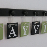 Green and Black Personalized Children Signs for JAYVION -  7 Wooden Hangers