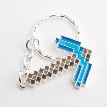 Minecraft Diamond Pickaxe Keychain
