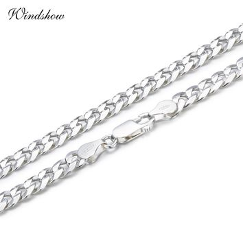 925 Sterling Silver Curb Chain Link Necklaces Men Jewelry collares kolye Collier Hiphop 50cm 55cm