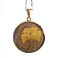 Real autumn leaf necklace - Yellow ginkgo biloba leaf - Botanical jewelry - Nature inspired necklace - Pressed leaf pendant - Bronze setting
