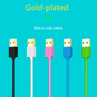 FFFAS Gold plated Micro USB Cable Data Sync charger 2A Fast charging short 0.2m 1m 2m 3m long Android phone for xiaomi Samsung