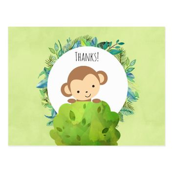 Cute Monkey Behind a Bush Party Thank You Postcard
