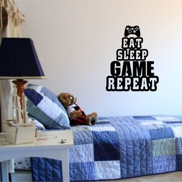 Eat Sleep Game Repeat Version 102 Old School Vintage Video Game Decal Sticker Wall Boy Girl Teen Child Sport Fight