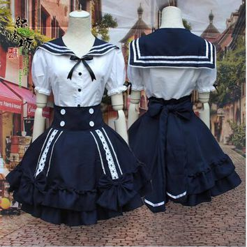 New Anime Girls Lolita Dress Sexy Sailor Costumes Halloween Party Ball Gown Cosplay Costume Bowknot Dress Uniform