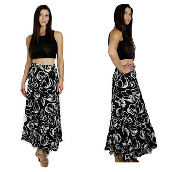Mod Circle Skirt / 50s Style Black & White High Waist Full A Line Floral Print Boho Midi 1980s Vintage Carole Little XS Extra Small