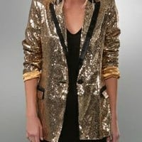 Torn By Ronny Kobo Bronze Sequin Blazer