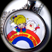RAINBOW BRITE . Glass Pendant Necklace . 80s . Rainbow . SPRITE . Vintage . Classic . GirlGameGeek