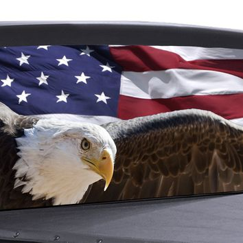 American Flag Eagle Universal Truck Rear Window 50/50 Perforated Vinyl Decal