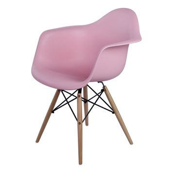 Carl Molded PP Arm Chair Maple Dowel Legs, Pink (Set of 2)