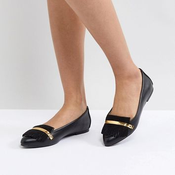 London Rebel Metal Bar Flat Shoe at asos.com