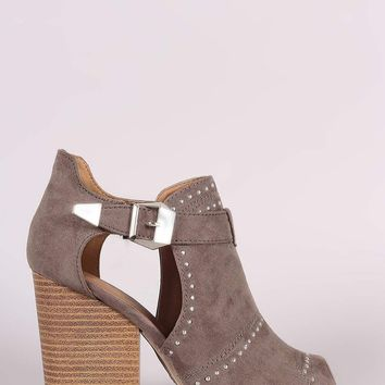 Qupid Suede Studded Peep Toe Stacked Chunky Heeled Booties