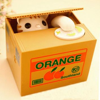 Kawaii Popular Piggy Bank Kitty Cat Neko Steal Money Coin Box Piggy Bank Pot Case