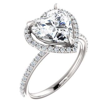 Heart Moissanite Diamond Accent Ice Halo Ring