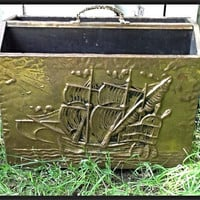 Vintage brass ship box. Office mail organizer with brass ship. Bathroom magazine holder nautical ship.