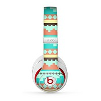 The Teal & Gold Tribal Ethic Geometric Pattern Skin for the Beats by Dre Studio (2013+ Version) Headphones