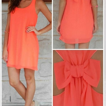 Casual Women Summer Chiffon Vestidos O-neck Sleeveless Loose Orange Dress Back with a Bow Dresses Roupas Femininas LQ8632 = 1946438404