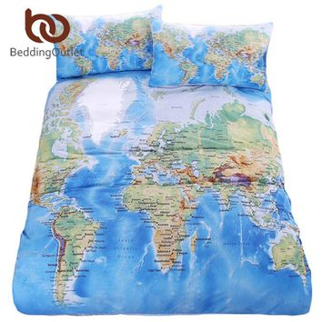 BeddingOutlet World Map Bedding Set Vivid Printed Blue Bed Duvet Cover with Pillowcase Twill Cozy Home Textiles Queen Sizes 3pcs
