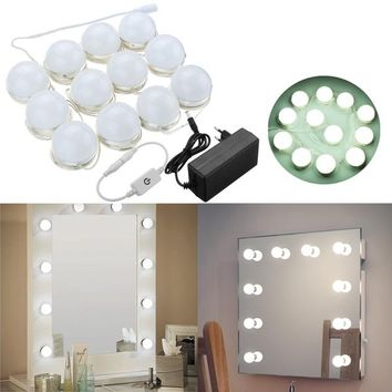 4M 12Bulbs White Hollywood Style LED Vanity Mirror Lights Kit + EU Adapter+Dimmer DC12V