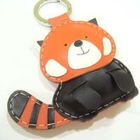 BIG Ray The Red Panda Leather Bag Charm ( Orange / Black ) | Luulla