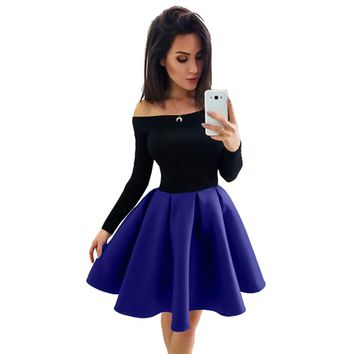 Fashion Women Long Sleeve Off The Shoulder Evening Party Ball Gown Dress