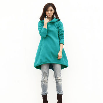 Turquoise Hoodie Sweatshirt Cotton Fleece Hoodie Dress Top with Big Hood for Autumn and Spring - Custom made - NC449