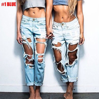 Sexy Fashion Women Destroyed Denim Hole Openings High Waist Jeans Pants Trousers = 1929607748