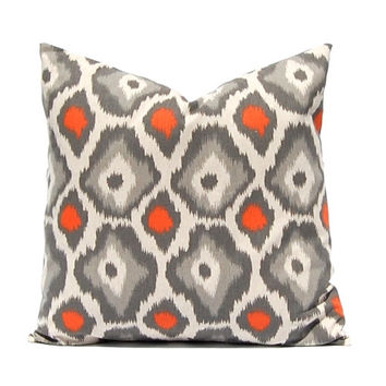 Orange Pillow, Throw Pillow Cover, Pillow Cover, Decorative Pillow Cover Orange Taupe on Linen Cushion Cover Fall Pillows Ikat Pillow