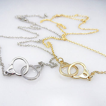 Handcuffs necklace ,Love necklace/ lovers necklace/ 2 colors-- Gold Silver necklace, / Punk necklace--birthday Bridesmaids Jewelry